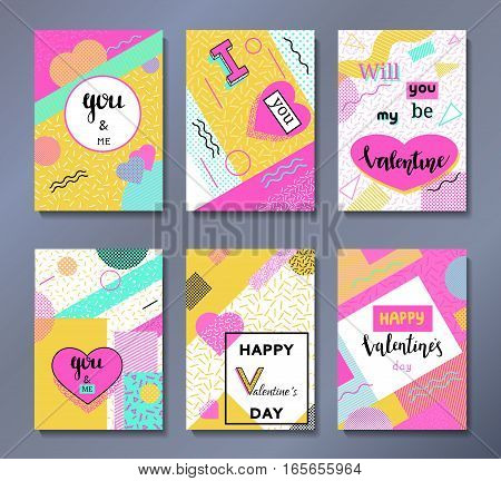 Valentine's day greeting cards set in trendy 80s-90s memphis style with geometric patterns and shapes. Vector illustration with lettering and colorful background