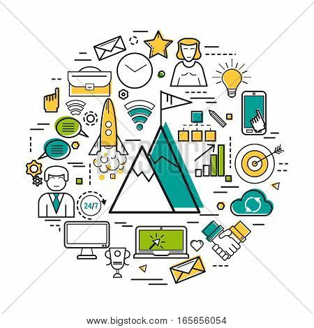 Vector round concept of business success and personal achievements in thin line style. Mountains with flag on top, the rocket, businessman, goal and computer icons