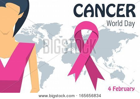 Vector illustration of womans head and breast on globe map in pink colors with text template for world cancer day with ribbon in the form of a loop