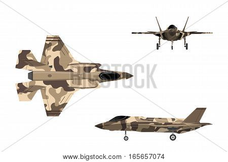 Fighter jet. War plane in flat style. Military aircraft in top side front view. Vector illustration.