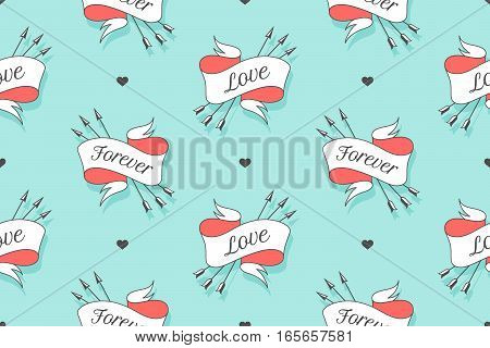 Seamless pattern with words Love and Forever for Valentine Day, Lovers Day or wedding. Hand drawn design in Love theme for wrapping paper, packaging, wallpaper, background. Vector Illustration