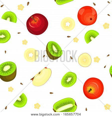 Seamless vector pattern of ripe apple and kiwi fruit. White background with delicious juicy kiwifruits and apples slice half. Vector fresh fruit Illustration for printing on fabric, textile design