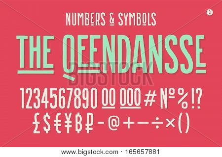 Hand-drawn condensed alphabet, font. Tall and thin uppercase letters, alternate characters, numbers, symbols. Hand-drawn sketch narrow sans serif font The Qeendansse, part Three. Vector Illustration