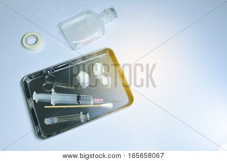 Set for injection emergency on white background.