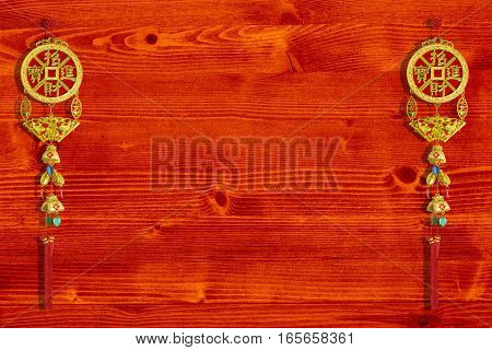 Chinese good luck symbols on wooden background Chinese new years concept.