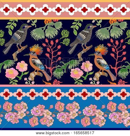 Blooming summer flowers, branches and paradise birds. Vintage textile collection.