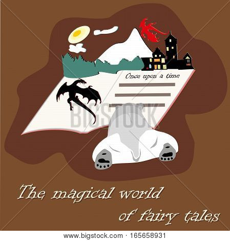 Bear with book with fairy tales with castles and dragons