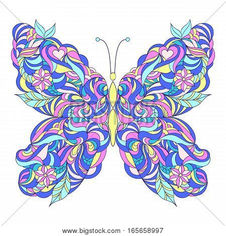 Motley abstract butterfly on white background.Vector illustration.