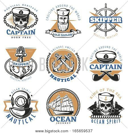 Colored vintage sailor logo set with cruising around the world old sailor ocean journey descriptions vector illustration