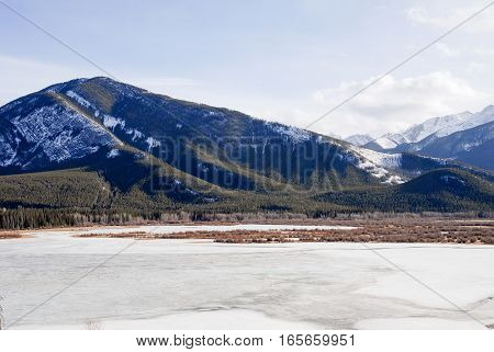 Sulphur Mountain and Vermilion Lake in Winter Banff National Park Canadian Rockies