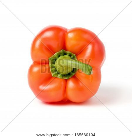 red Bell pepper on white background isolate.