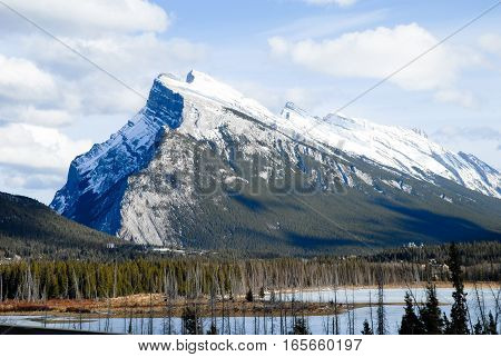 Mount Rundle in Winter Canadian Rockies Alberta Canada