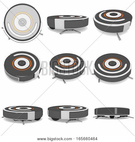 Robot vacuum cleaner set. 3d render isolated on white. Smart cleaning technology concept