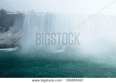 Niagara Falls and Birds with Spray in Winter