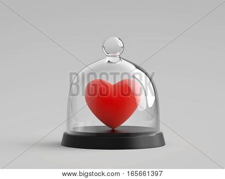 Heart under glass bell jar. 3D rendering with clipping path