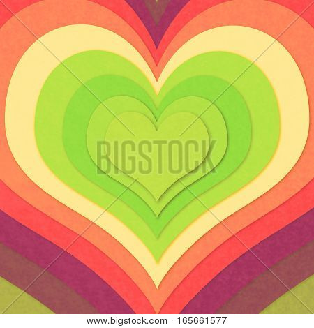 Colorful shape of concentric paper hearts illustr.ation