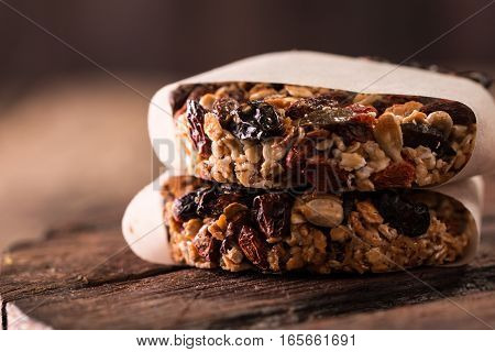 Healthy Organic Energy Granola Bites With Dry Berries - Vegan Vegetarian Raw Snack Or Meal