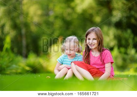 Two Cute Little Sisters Having Fun Together On The Grass On Summer Day