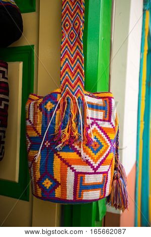 typical indigenous traditional handcrafted Colombian shoulder bag