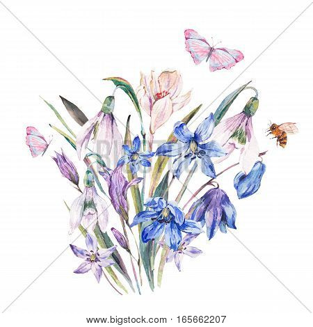 Vintage watercolor spring card with blue wildflowers, blooming snowdrops, scilla, leaves, herbs, butterfly and bee, isolated botanical greeting design on white.