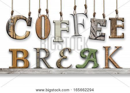 3d text coffee break. Wood texture. Letters hung and placed on the shelf. Coffee break written. The word coffee hanging high with ropes. The writing break resting on a wooden shelf. Realistic 3d effect.