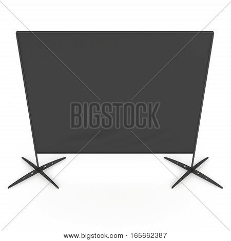 Billet press wall with black screen chroma key banner. Mobile trade show booth white and blank. 3d render isolated on white background. High Resolution Template for your design.