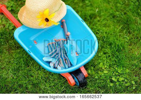 Toy Wheelbarrow, Childrens Garden Gloves And Garden Tools.