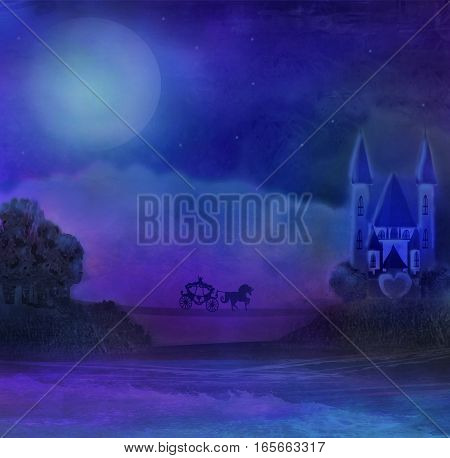 horse carriage and a medieval castle , raster