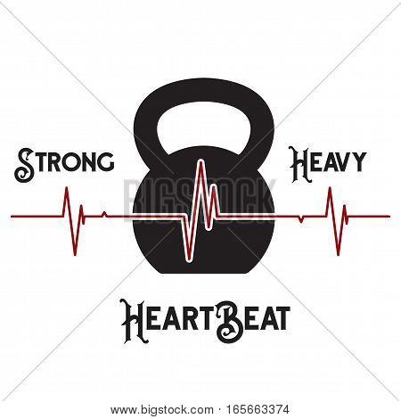 Vector EKG (heartbeat diagram) in icon of kettlebell on white background. Concept of expression healthy lifestyle.