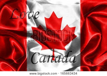 Canadian National Flag With Text Love Canada On It in Red And White Colors 3D Rendering