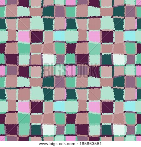 Seamless geometric mosaic pattern. Rectangles, squares, woven line background. Patchwork, ceramic, tile texture. Soft light brown, rose, cold green, contrast dark vinous colors. Winter theme colored. Vector