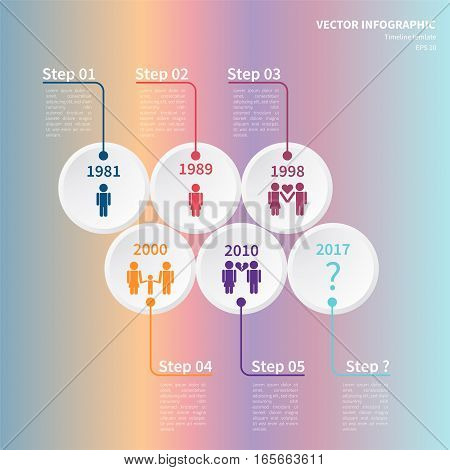 Vector infographic template. Concept of timeline based on the relationship between man and woman. Illustration on the colorful background.
