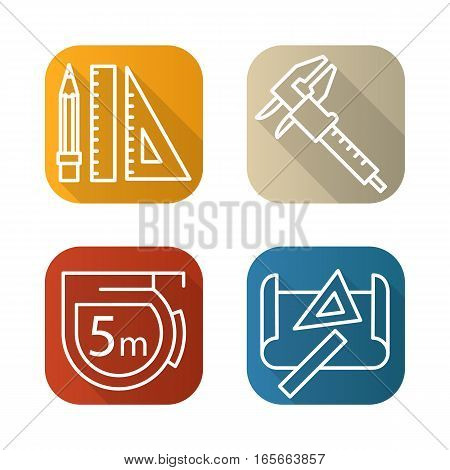 Engineering tools flat linear long shadow icons set. Caliper, pencil and ruler, measuring tape, drawing rulers. Vector line illustration
