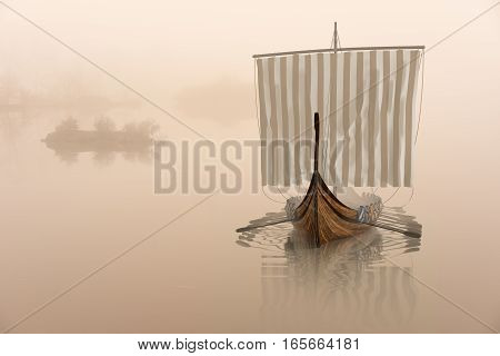 Viking ship on the water in the mystical fog. Drakkar in the calm of nature. 3D illustration.