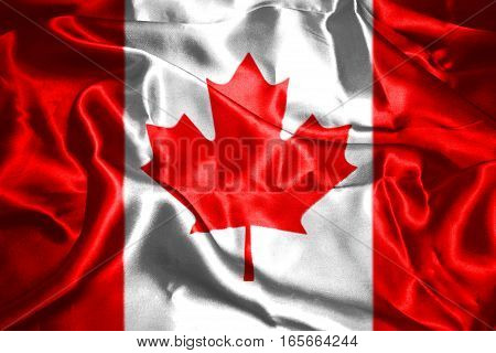 Canadian National Flag With Maple Leaf 3D Rendering