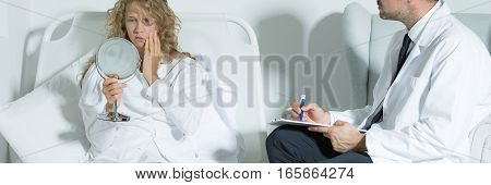 Girl During Psychoteraphy Session With Mirror