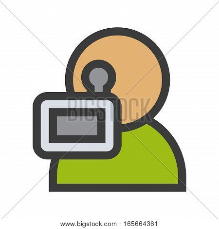 Videographer color icon. Isolated vector illustration on white background