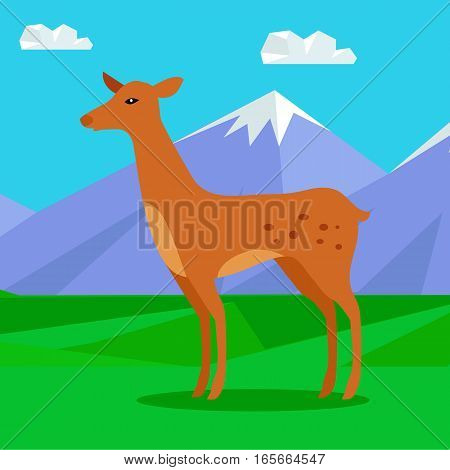Fawn on the lawn in the mountains. Junior verdant young brown spotted deer. Ruminant mammal. Little inexperienced fawn in its first year. Cartoon illustration. Herbivore creature. Vector illustration