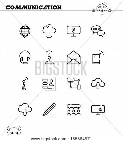 Communication flat icon set. Collection of high quality outline symbols for web design, mobile app. Vector thin line icons or logo of mail