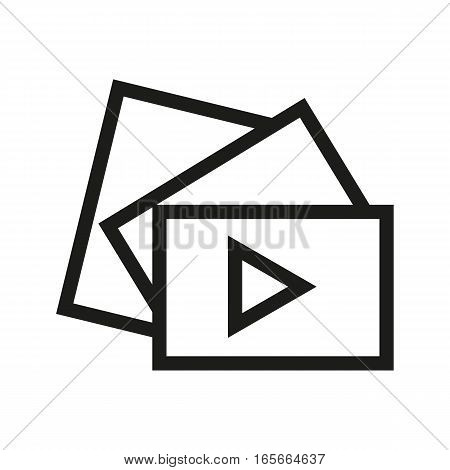 Video play button linear icon. Filming item thin line illustration. Vector isolated outline drawing