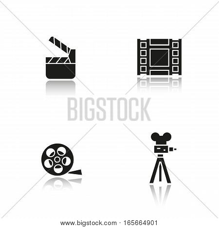 Filming drop shadow black icons set. Film camera, video film, film reel, movie clapperboard symbol. Isolated vector illustrations
