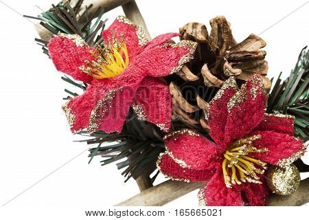 Traditional christmas decorations closeup isolated over white