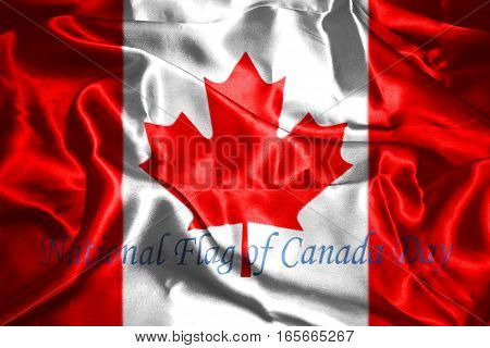 Canadian Flag With Text Happy National Flag Of Canada Day 3D Rendering