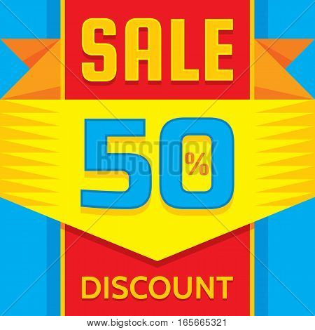 Sale - business banner creative vector illustration. Abstract promotion advertising layout. Discount 50% concept decorative geometric background. Design element.