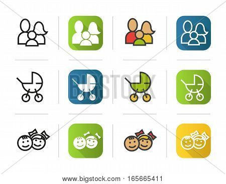 Family icons set. Flat design, linear and color styles. Baby carriage, children symbol. Isolated vector illustrations