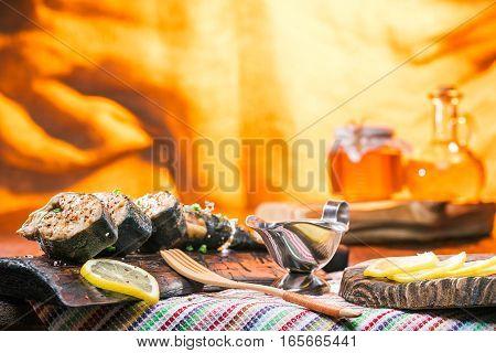 476228 Prepared Salmon Fish On The Wood