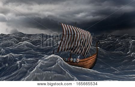 Viking ship on the dramatic wavy sea in the storm. Drakkar and ocean. 3D illustration