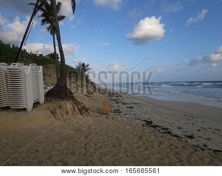 Cuban beach landscape sea sunset island of Cuba