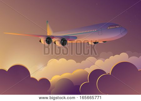 Airplane flying in the sky at sunrise. Airplane travel journey flight vector cartoon illustration