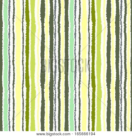 Seamless strip pattern. Vertical lines with torn paper effect. Shred edge background. Light, contrast, green, gray, yellow, olive colors on white background. Winter theme. Vector
